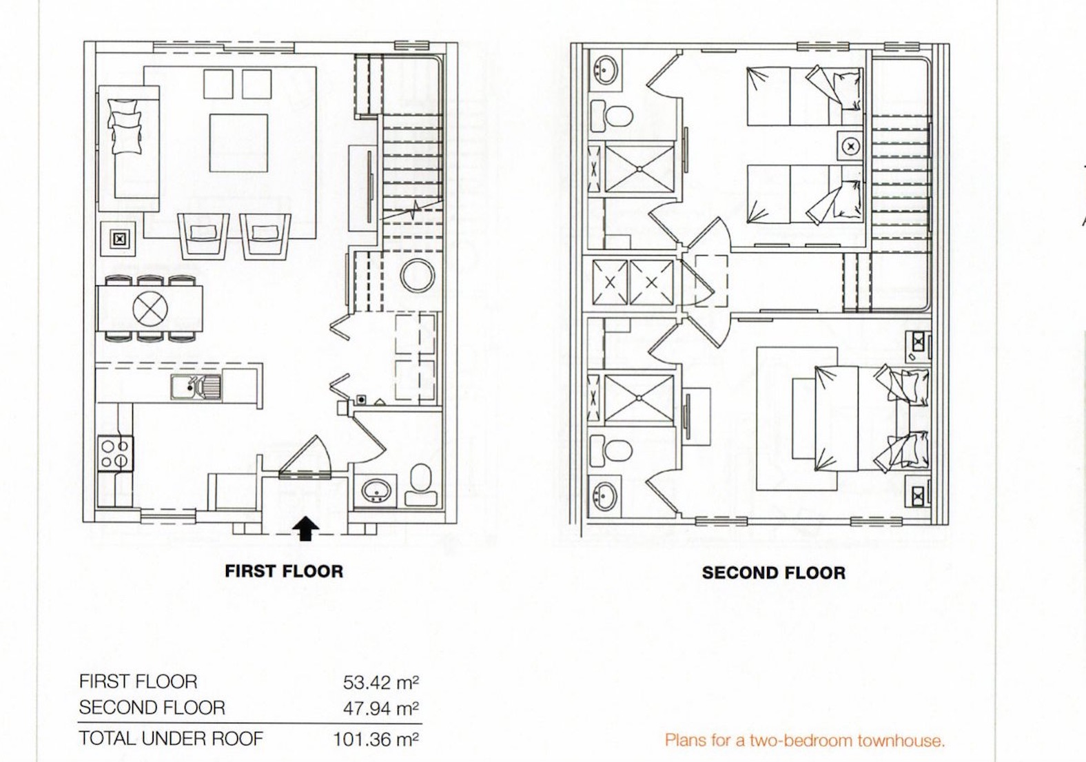 Floor Plan for Lovely 2 Bedroom, 2.5 Bathroom in Encantada with its own Hot Tub